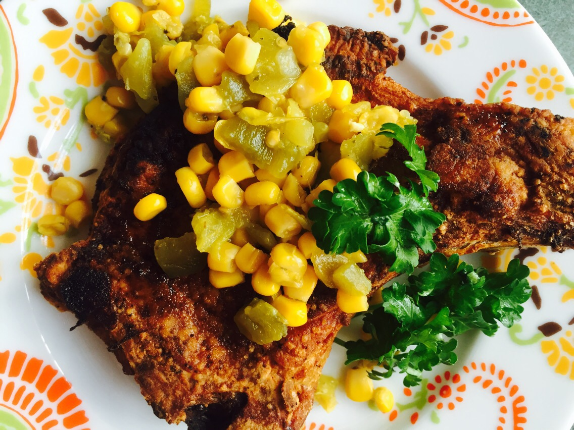 Pan Fried Bone In Pork Chops With Fire Roasted Corn And